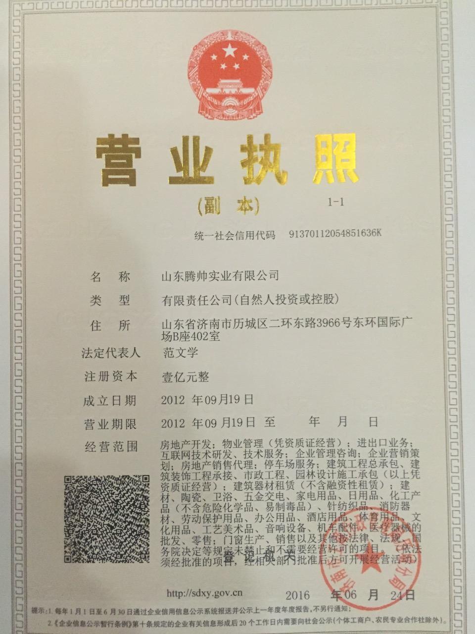山东腾帅实业有限公司 最新采购和商业信息