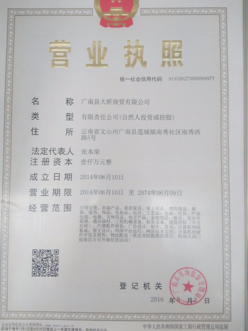 广南县大昕商贸有限公司 最新采购和商业信息